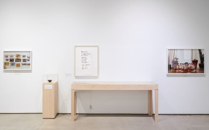 Patty Chang, Mourning Sickness (2017); Chinese tea bowl; God Boom (2017); Configurations (bottles) (2017) (left to right). Exhibition view: Patty Chang: The Wandering Lake, 2009–2017, Institute of Contemporary Art, Los Angeles (17 March–4 August 2019). Courtesy Institute of Contemporary Art, Los Angeles.