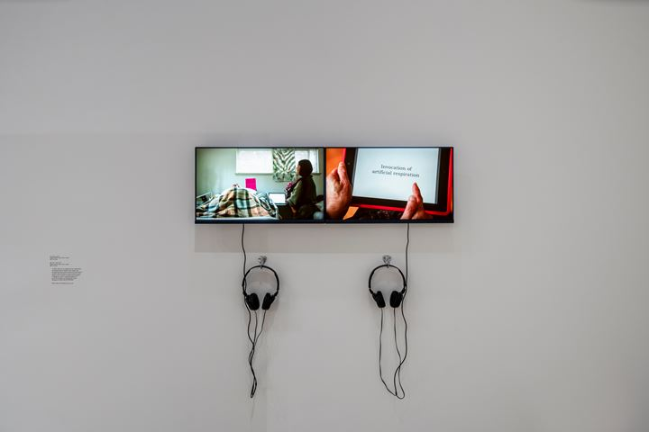 Patty Chang, Que Sera, Sera (2013); Invocations (2013) (left to right). Exhibition view: Patty Chang: The Wandering Lake, 2009–2017, Institute of Contemporary Art, Los Angeles (17 March–4 August 2019). Courtesy Institute of Contemporary Art, Los Angeles.