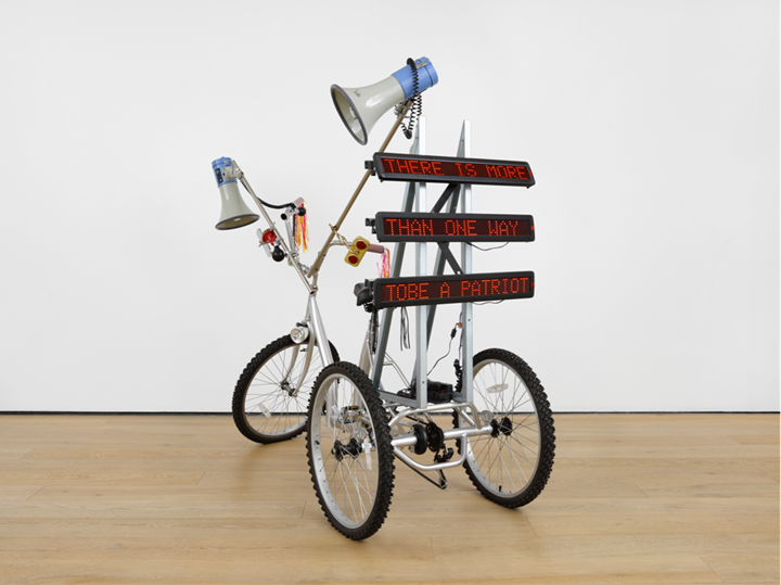Marinella Senatore, Protest Bike (2018). Bike, speakers, billboards. Courtesy Richard Saltoun Gallery.