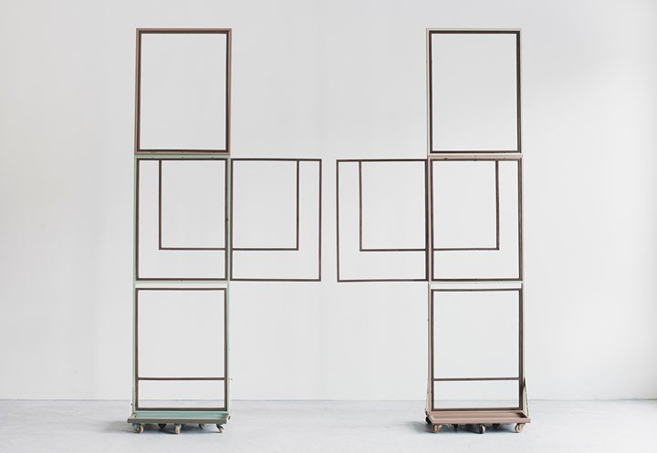Suki Seokyeong Kang, Jeong (2014–2015). Assembled units, painted steel, wood frame, wood wheel. Dimensions variable. Courtesy the artist, One and J. Gallery and Tina Kim Gallery.