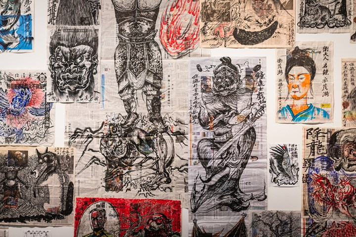 Sun Xun, Newspaper Paintings (2015–2018). Ink and colour on newspaper. Exhibition view: Sun Xun, Museum of Contemporary Art Australia, Sydney (9 July–14 October 2018). Courtesy the artist and Museum of Contemporary Art Australia. © Sun Xun. Photo: Jacquie Manning.