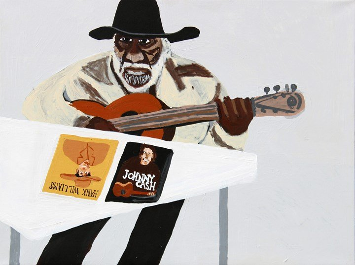 Vincent Namatjira, Jimmy Pompey playing guitar (2015). Acrylic on canvas. Courtesy the artist and THIS IS NO FANTASY dianne tanzer + nicola stein.