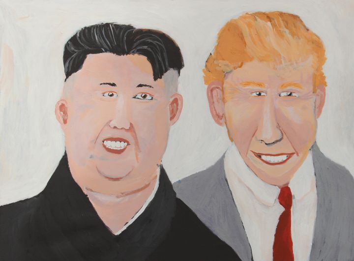 Vincent Namatjira, Donald and Kim (2017). Acrylic on linen. 91 x 122 cm. Courtesy the artist and THIS IS NO FANTASY dianne tanzer + nicola stein.