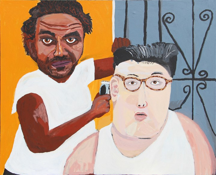 Vincent Namatjira, Self Portrait after Henry Taylor (2018). Acrylic on canvas. 122 x 155 cm. Courtesy the artist and THIS IS NO FANTASY dianne tanzer + nicola stein.