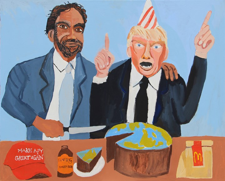 Vincent Namatjira, Vincent & Donald (Happy Birthday) (2018). 122 x 155 cm. Acrylic on canvas. Courtesy the artist and THIS IS NO FANTASY dianne tanzer + nicola stein.