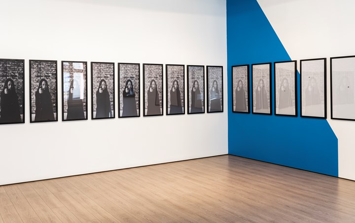 Xiao Lu, 15 Gunshots… From 1989 to 2003 (2003). 15 black and white digital prints, framd and then punctured by a bullet. 100 x 45 x 15cm. Printed in 2019=8, edition 12/15. Photos: Li Songsong. Exhibition view: Xiao Lu: Impossible Dialogues, 4A Centre for Contemporary Asian Art, Sydney (19 January–24 March 2019). Courtesy the artist. Photo: Kai Wasikowski (2019), for 4A Center for Contemporary Asian Art.