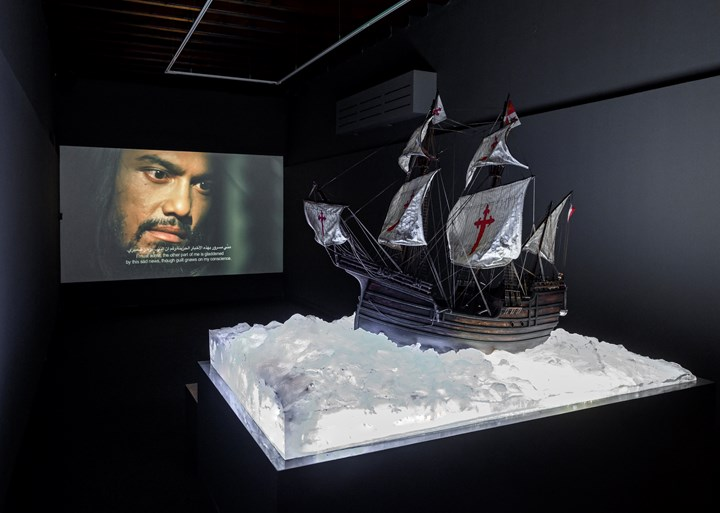 Ahmad Fuad Osman, Enrique de Malacca Memorial Project (2016–ongoing). Mixed media installation: 73 objects; two single-channel videos: colour, sound; 33 interactive video interviews, archival materials. Dimensions variable. Exhibition view: Leaving the Echo Chamber, Sharjah Biennial 14 (7 March–10 June 2019). Commissioned by Sharjah Art Foundation. Courtesy the artist. Photo: Sharjah Art Foundation.