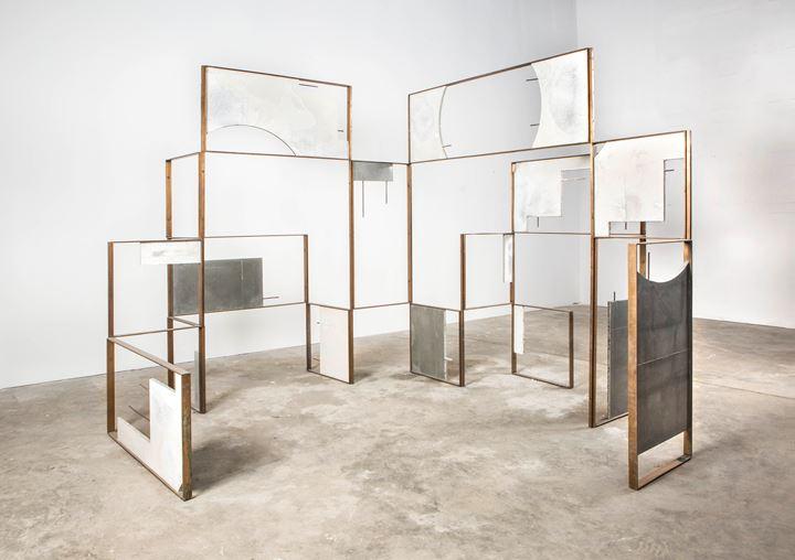 Ishmael Randall Weeks, Concretos Penetrables (Biombo-Chakana) (2019). Bronze, grout 700, corrugated iron. Courtesy Revolver Galería.
