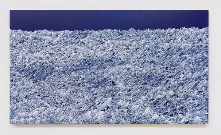 Sandra Cinto, Untitled, from the series Open Sea (2020). Acrylic and permanent pen on canvas. Courtesy Casa Triângulo. Photo: Albano Afonso.