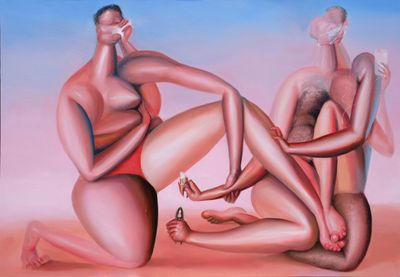 Alvin Ong, Mutual Comfort (2020). Oil on canvas. 165 x 240 cm.