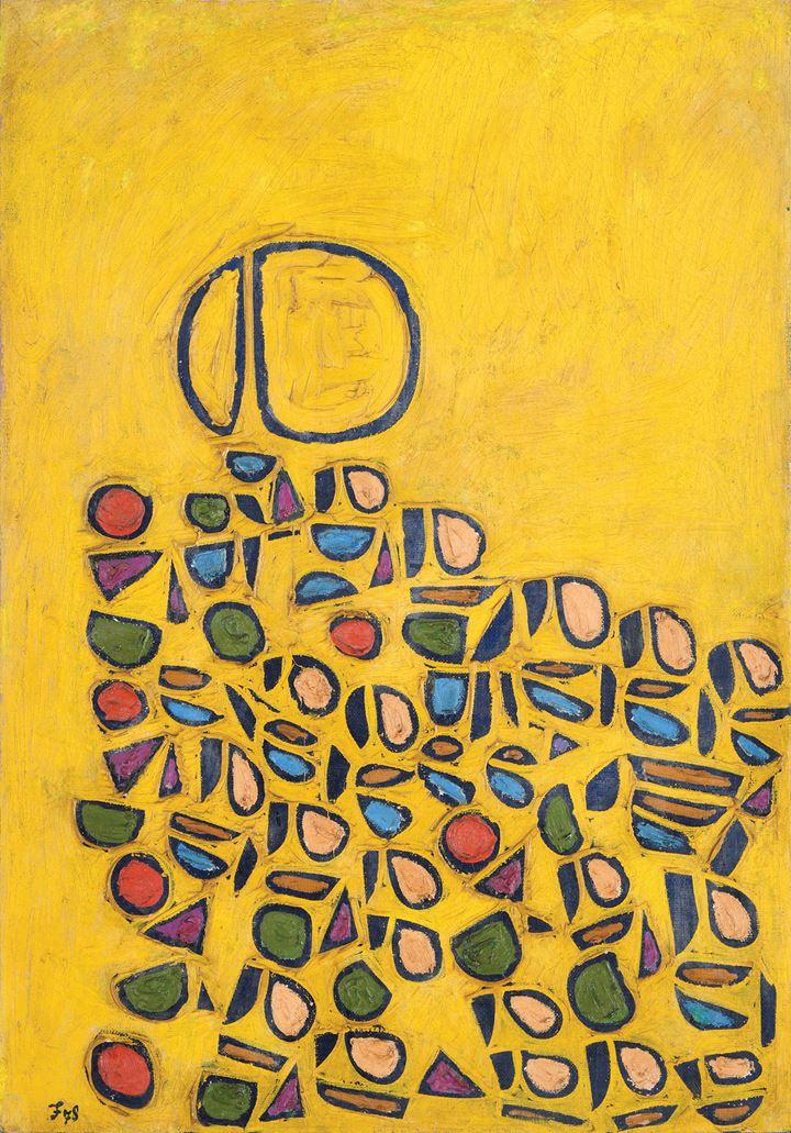 Fadjar Sidik, Space Dynamic in Yellow (1978). Oil on canvas, 94.3 x 65.5 cm. Courtesy Asia Art Center.