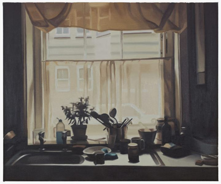 Mike Silva, Kitchen Window (2020). Oil on linen. 50.8 x 61 cm. Courtesy The Approach.