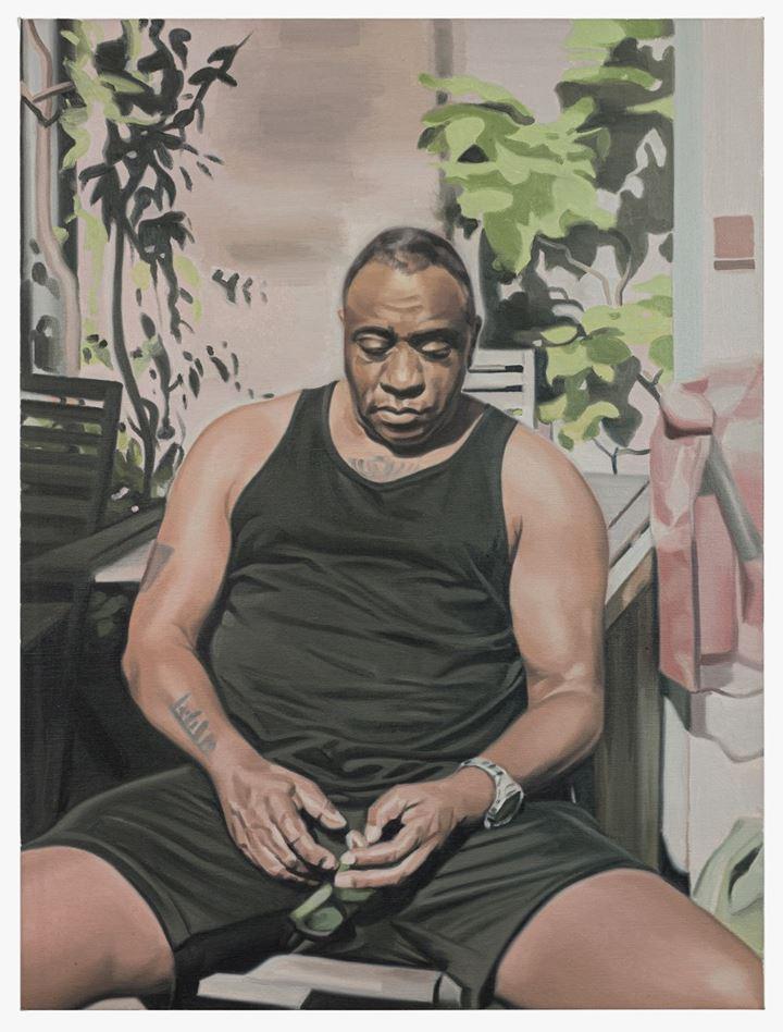 Mike Silva, Mark (2020). Oil on linen. 81.3 x 61 cm. Courtesy The Approach.