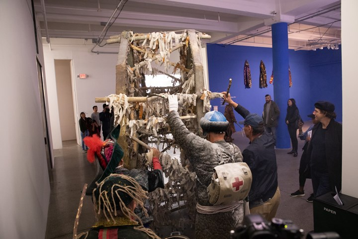 Kyzyl Tractor Art Collective, Liver Performance at Focus Kazakhstan -Thinking Collections: Telling Tales, ACAW Signature Exhibition, Mana Contemporary, Jersey City (14 October 2018). Courtesy Asia Contemporary Art Week.