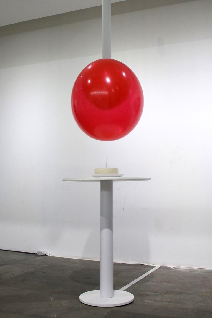Chloe Cheuk, The Burst of Pleasure (2012) (detail). Arduino, processing, custom electronics, balloons, needle, air compressors, valves. 300 x 300 x 400 cm. Courtesy the artist.