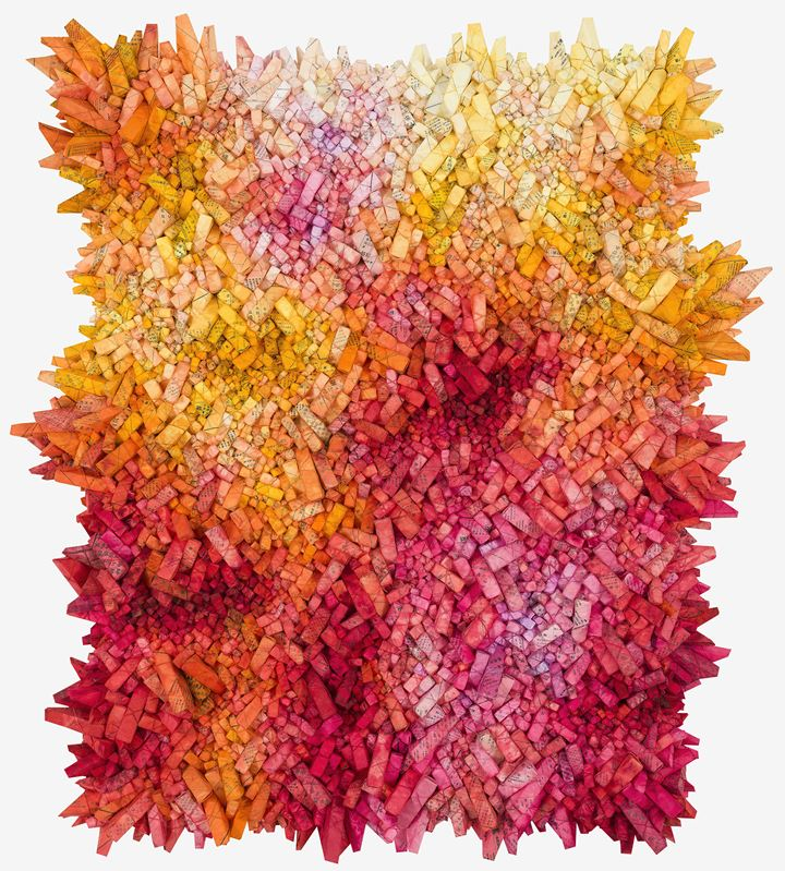 Chun Kwang Young, Aggregation 19 - SE082 (2019). Mixed media with Korean mulberry paper. 168 x 152 cm. Courtesy Sundaram Tagore Gallery.