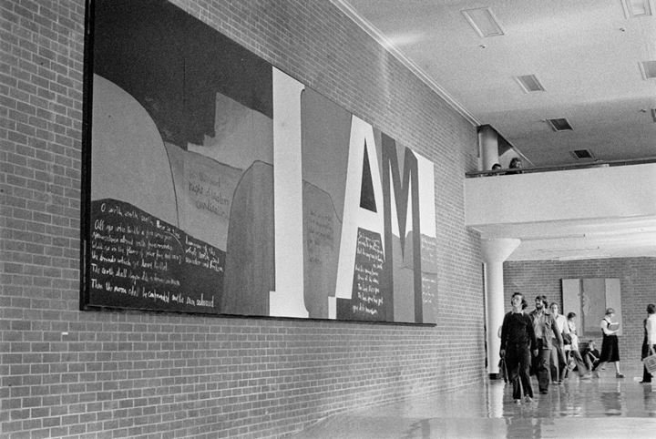 Colin McCahon, Gate III (1970). The Dominion Post: Photographic negatives and prints of the The Evening Post and The Dominion Post newspapers. Ref: EP/1978/1078/5A-F. Alexander Turnbull Library, Wellington, New Zealand.