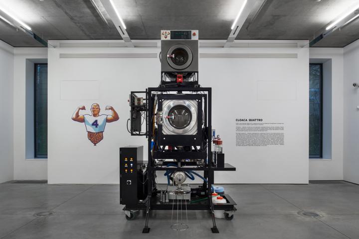 Wim Delvoye, Cloaca Quattro (2004–2005). Mixed media.  340 x 150 x 205 cm. Exhibition view: Wim Delvoye, Gary Tatintsian Gallery, Moscow (9 November 2018–9 February 2019). Courtesy Gary Tatintsian Gallery.