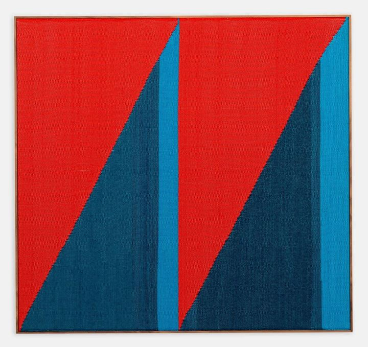 Brent Wadden, Untitled (2019). Hand woven fibres, wool, cotton and acrylic on canvas in the artist's frame. 117 x 124.1 cm. Courtesy the artist and Pace Gallery.