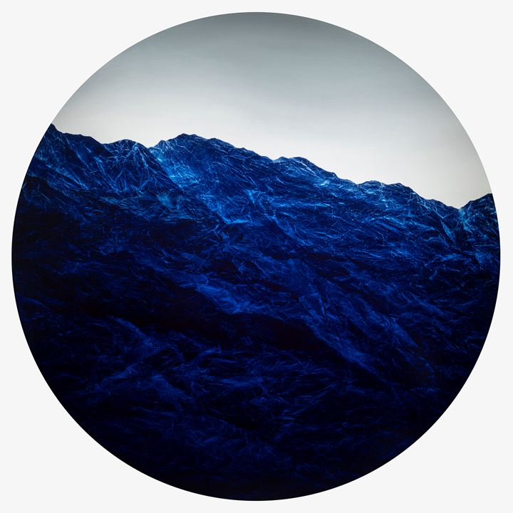 Wu Chi-Tsung, Cyano-Collage 77 (2020). Cyanotype Photography, Xuan Paper, Pigment and Acrylic Gel, 180 x 180 cm; 70 7/8 x 70 7/8 inches. Courtesy Galerie du Monde.