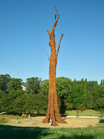 Ai Weiwei's 32-metre-high iron replica of a hardwood Caryocar brasiliense stands tall in a park against a clear blue sky. Small figures are visible beneath it.