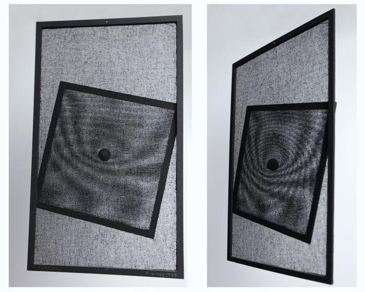 Alberto Biasi's monochromatic geometric artworks titled 'Trama' (1959). Gauze and tempera. Part of the Alberto Biasi Archive Collection, Padua.