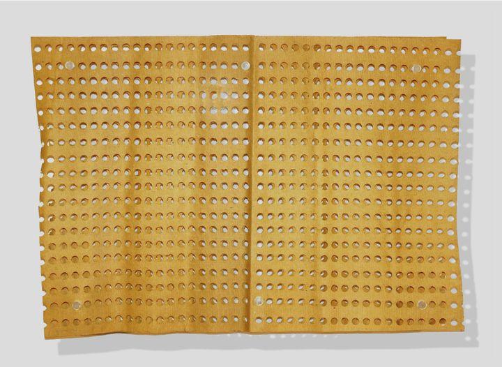 Alberto Biasi's geometric artworks titled 'Trama' (1959). Superimposed perforated papers. Part of the Alberto Biasi Archive Collection, Padua.