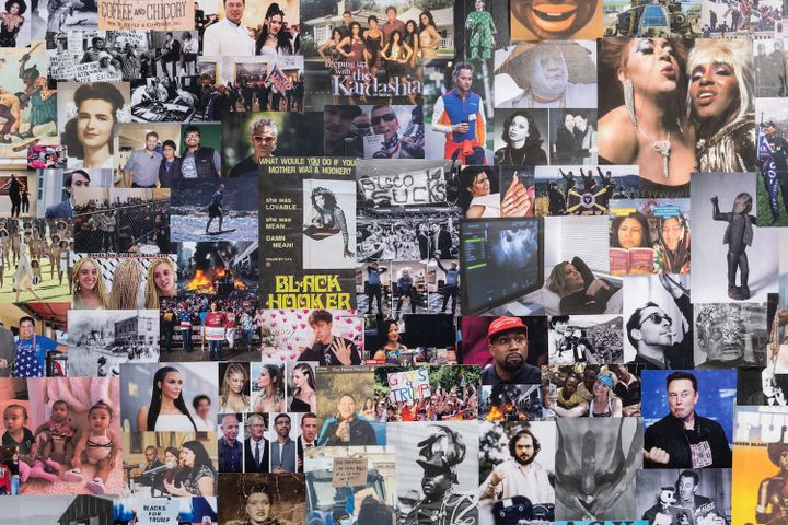 A series of pop cultural and historical images pertaining to racial politics are collaged on a wall and photographed close-up.