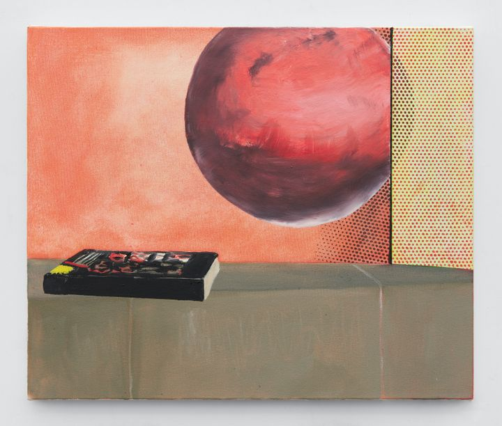 In a painting by Dexter Dalwood, a large pinkish-red sphere is partially concealed by a sheet of yellow covered in red dots, while to the left, the backdrop is orange. Below the sphere, a book rests on a table.