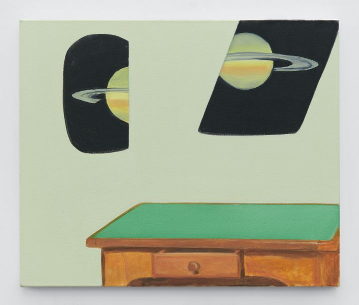 Dexter Dalwood's painting depicts two portals looking out onto segments of Saturn, so that it appears as though the planet has been cut in half. The portals rest on a light green background, and below, a table with a green top is visible.