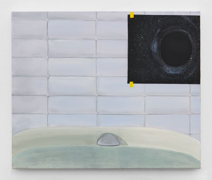 A painting by Dexter Dalwood depicts a bathroom interior, with an image of a black hole pasted to its sparse, lilac tiles. The lower part of the painting is taken up by a sink.