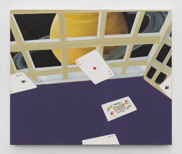 A grid formation separates the space in Dexter Dalwood's painting. In front, cards appear to fly above a purple table-top. Behind the grid, Saturn is depicted against a black background.
