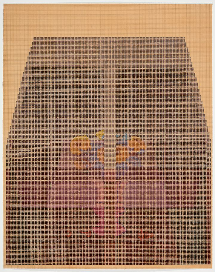 A small bunch of yellow and red flowers is pictured beneath a dark expanse, coming together to form a grid painting on brown paper.