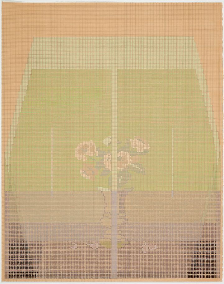A small bunch of pink flowers is overlaid with light green, with both elements coming together in a grid painting.