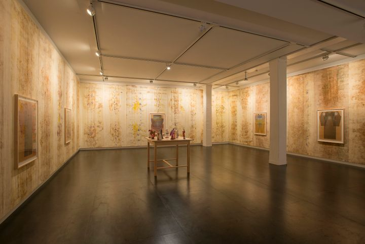 An installation by Ellen Lesperance features treated silk banners hang along the walls, which show light, earthy tones.