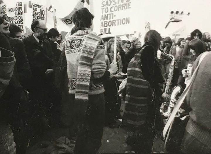 A group of protesters against Corrie anti-abortion bill are pictured in a black and white archival photograph.