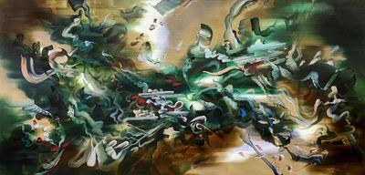 Grace Wright, Final Fantasy (2020). Acrylic on linen. 180 x 360 cm.