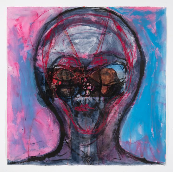 A brusquely drawn alien-like portrait by Huma Bhabha is outlined in shades of blue, pink, and black.
