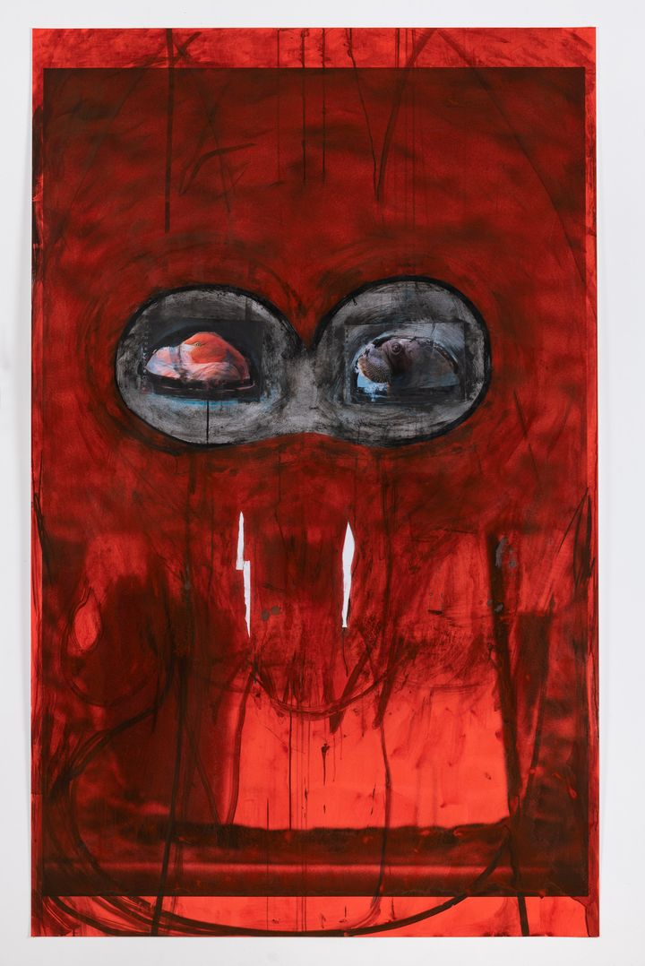 A layered, brusquely drawn alien-like figure is made up of shades of deep red and black.