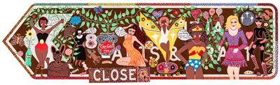 Kaylene Whiskey, Yankunytjatjara people, South Australia, born Mparntwe (Alice Springs), Northern Territory 1976, Seven Sistas Sign (2021). Indulkana, South Australia, water-based enamel paint on SA Tourist Attraction road sign. 75.0 x 270.0 x 3.0 cm. © Kaylene Whiskey/Iwantja Arts. Photo: Saul Steed.