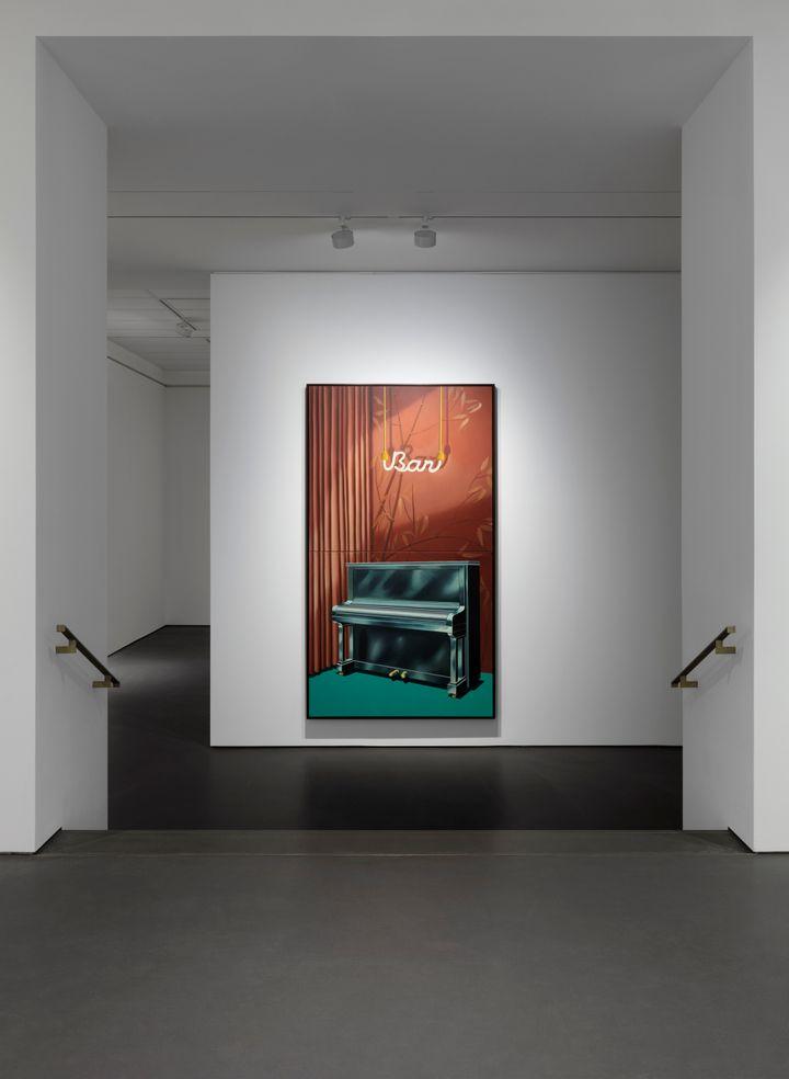 Almut Heise, Bar (1970). Oil on canvas (2 parts, foldable). 274 x 152.5 cm, unframed; 277.2 x 156.7 x 7 cm, framed. Courtesy Esther Schipper. © Almut Heise & VG Bild-Kunst, Bonn, 2021.