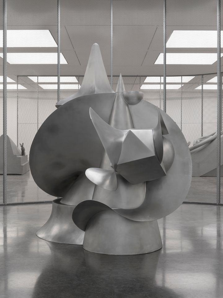 Artist Liu Wei's artwork depicting a large-scale fibreglass aluminium sculpture with biomorphic spikey edges