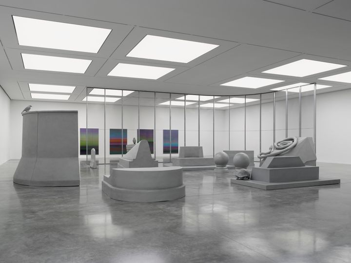 Artist Liu Wei's exhibition depicting concrete hued large-scale fibreglass aluminium sculptures at White Cube Bermondsey
