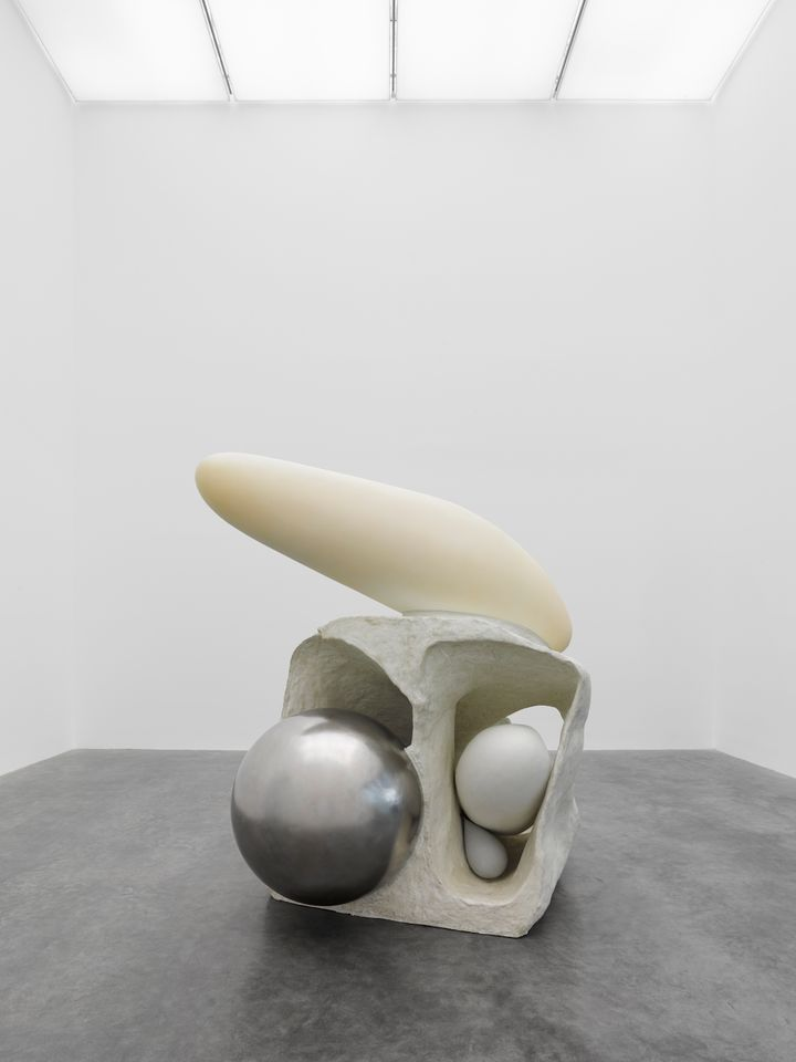 Artist Liu Wei's artwork made of fibreglass & aluminium sculptures which consists of a large aluminium ball pasted together to form a biomorphic object