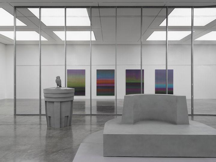 Artist Liu Wei's exhibition depicting concrete hued large-scale fibreglass aluminium sculptures and 4 large oil paintings
