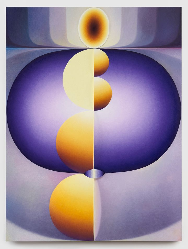 Loie Hollowell, Purple Ovum (2020). Oil paint, acrylic medium, and high-density foam on linen mounted on panel. 182.9 × 137.2 × 9.5 cm. Courtesy Private Collection.