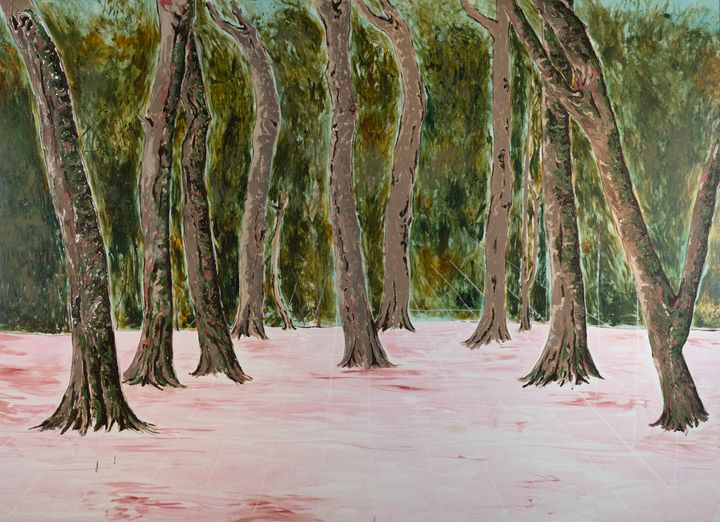 A grouping of trees is painted with a pink ground, and the faint lines of a grid are drawn on top of the scene.