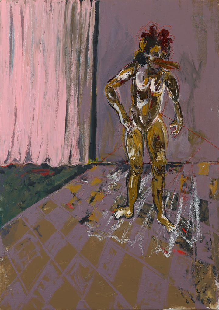 A beaked human figure stands against a gestural, painterly background.