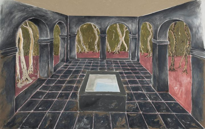 A painting by Maitha Abdalla situates an abandoned, roofless arched structure around a water basin in the middle of the forest.