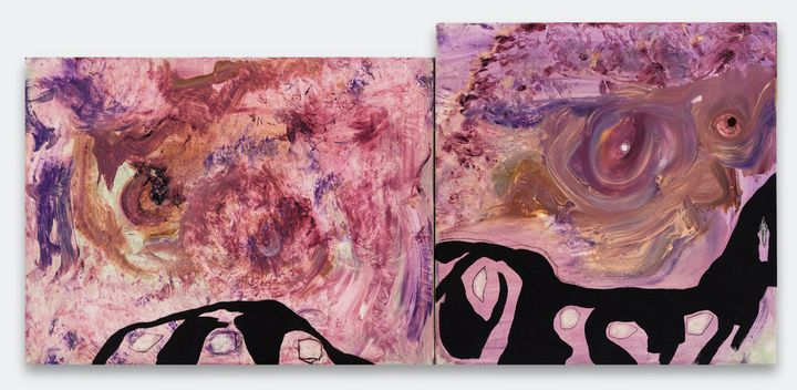 A diptych of pink, swirling abstract paintings by Manuel Mathieu, with a stroke of dripping black paint running across.